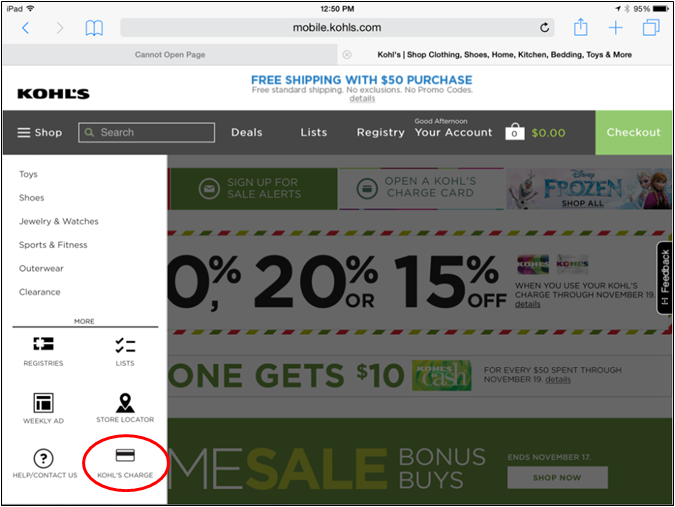 When do customers receive their Kohl's charge statements?